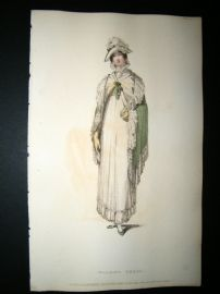 Ackermann 1814 Hand Col Regency Fashion Print. Walking Dress 11-31
